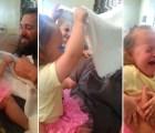 La sorpresiva reacción de una niña al ver a su papá sin barba