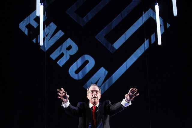 "Cast member Gregory Itzin, depicting former Enron CEO Kenneth Lay, performs during a dress rehearsal of the play ""Enron"" in New York"