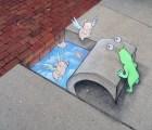 David Zinn y su divertido arte urbano