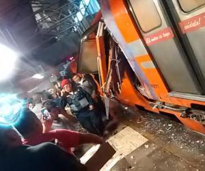 Chocan trenes del Metro en estación Oceanía