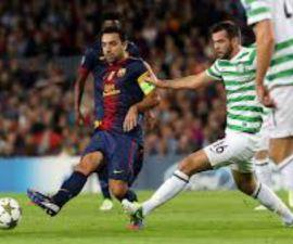 Xavi durante el partido