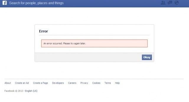 Facebook error