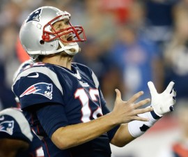 FOXBORO, MA - SEPTEMBER 12:  Quarterback Tom Brady #12 of the New England Patriots reacts after an incomplete pass in the second quarter while taking on the New York Jets at Gillette Stadium on September 12, 2013 in Foxboro, Massachusetts.  (Photo by Jim Rogash/Getty Images)