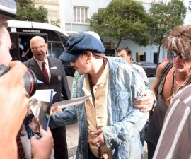 The 52-year-old, who is in Brazil to take part in the Rock in rio music festival with his band Hollywood Vampires, was spotted arriving at his luxury hotel on Copacabana beach in a strange outfit. Aerosmith guitarist Joe Perry, who is part of the band's current line-up, could be seen with him. Depp is in town with wife Amber Heard.   Pictured: Johnny Depp Ref: SPL1130668  230915   Picture by: Splash News  Splash News and Pictures Los Angeles:310-821-2666 New York:212-619-2666 London:870-934-2666 photodesk@splashnews.com