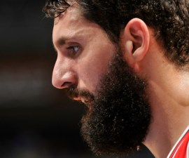 ORLANDO, FL - APRIL 8: Nikola Mirotic #44 of the Chicago Bulls stands on the court during a game against the Orlando Magic on April 8, 2015 at Amway Center in Orlando, Florida. NOTE TO USER: User expressly acknowledges and agrees that, by downloading and or using this photograph, User is consenting to the terms and conditions of the Getty Images License Agreement. Mandatory Copyright Notice: Copyright 2015 NBAE (Photo by Fernando Medina/NBAE via Getty Images