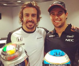 checo perez alonso intercambio casco