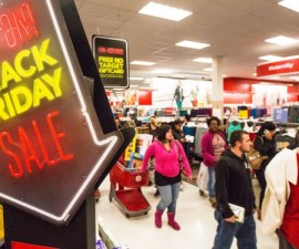 BRAINTREE, MA - NOVEMBER 23: Shoppers hurried through the aisles in Target during Black Friday at South Shore Plaza in Braintree. (Photo by Aram Boghosian for The Boston Globe via Getty Images)