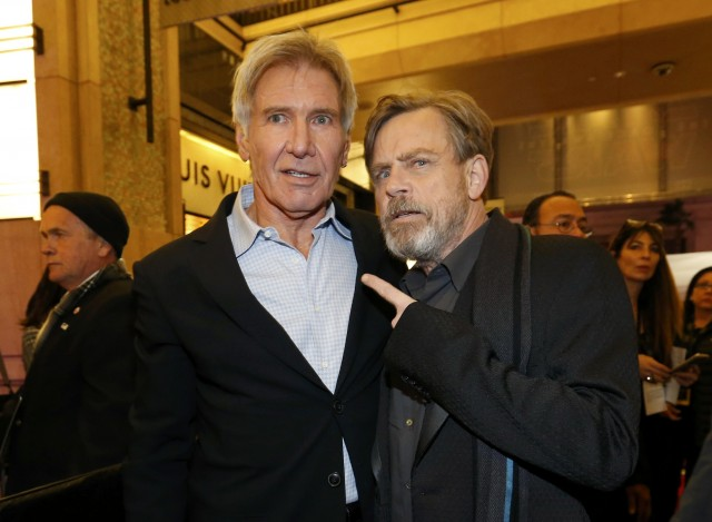 "Actors Ford and Hamill arrive at the premiere of ""Star Wars: The Force Awakens"" in Hollywood"