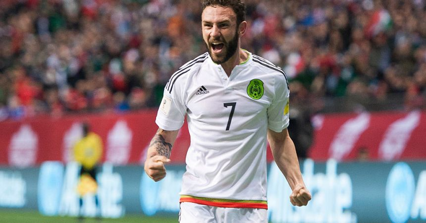 VANCOUVER, BC - MARCH 25:  Miguel Layun #7 of Mexico celebrates teammates Javier Herhandez's  #14 (not pictured) goal against Canda during FIFA 2018 World Cup Qualifier soccer action at BC Place on March 25, 2016 in Vancouver, Canada. (Photo by Rich Lam/Getty Images)