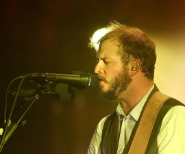 SYDNEY, AUSTRALIA - MARCH 11:  Justin Vernon of Bon Iver performs on stage at the Sydney Opera House on March 11, 2012 in Sydney, Australia.  (Photo by Mark Metcalfe/Getty Images)