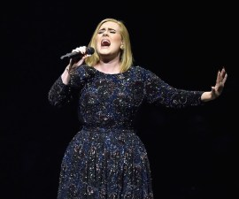 LOS ANGELES, CA - AUGUST 05:  Singer Adele performs on stage during her North American tour at Staples Center on August 5, 2016 in Los Angeles, California.  (Photo by Kevin Winter/Getty Images for BT PR)