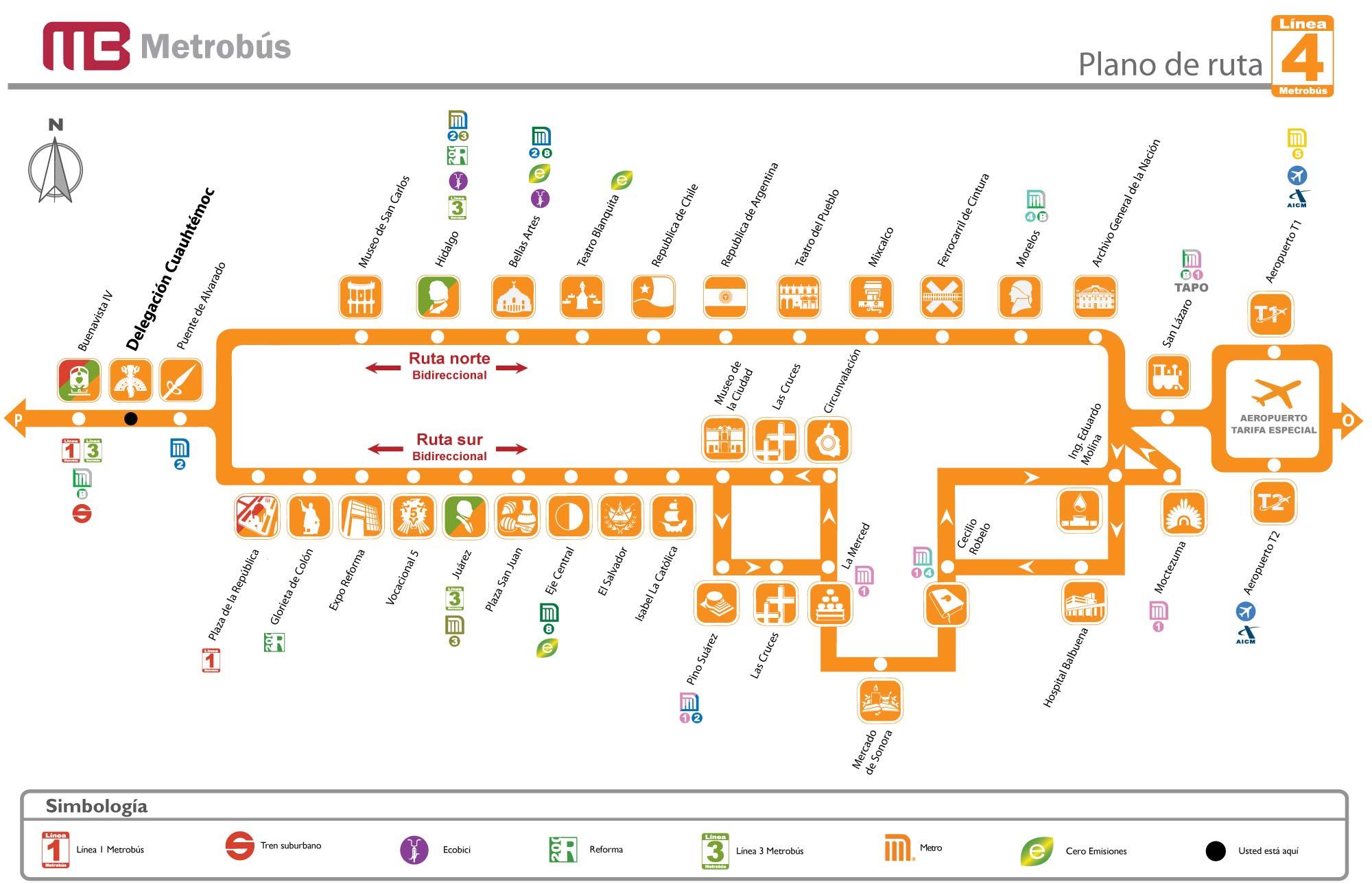 mapa linea cuatro metrobus