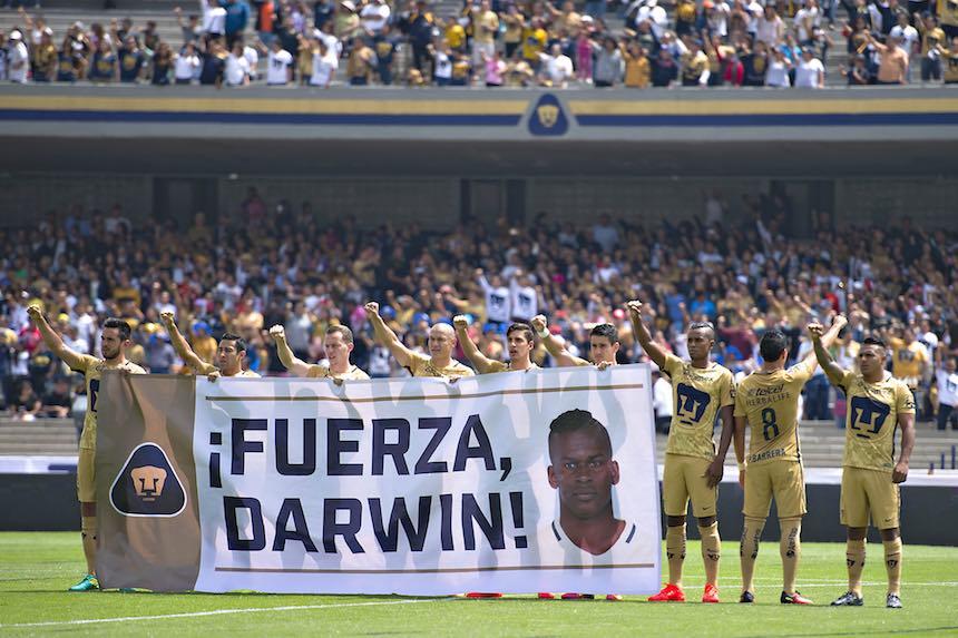 Los Pumas se solidarizaron con Darwin Quintero por su lesión.