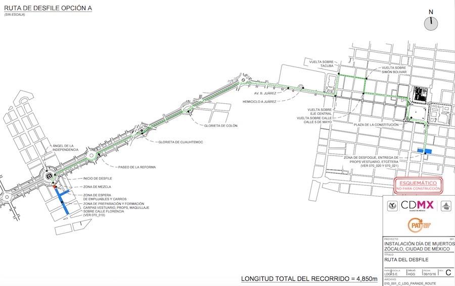 Mapa del Desfile del Día de Muertos en la Ciudad de México.