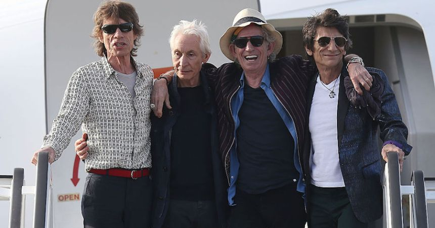 HAVANA, CUBA - MARCH 24:  Mick Jagger, Charlie Watts, Keith Richards and Ronnie Wood of the Rolling Stones exit their plane after landing at the Jose Marti International Airport on March 24, 2016 in Havana, Cuba. The Rolling Stones are in Havana to play a free concert for the first time, after the music was once banned by the Cuban government.  (Photo by Joe Raedle/Getty Images)