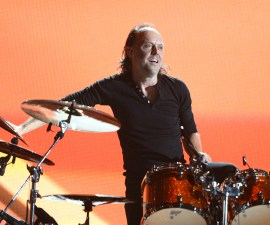 LOS ANGELES, CA - JANUARY 26:  Musician Lars Ulrich of Metallica performs onstage during the 56th GRAMMY Awards at Staples Center on January 26, 2014 in Los Angeles, California.  (Photo by Kevork Djansezian/Getty Images)