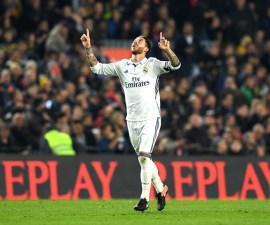 Sergio Ramos festeja gol contra el Barcelona