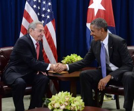 NEW YORK, NY - SEPTEMBER 29: U.S. President Barack Obama (R) and President Raul Castro (L) of Cuba shake hands during a bilateral meeting at the United Nations Headquarters on September 29, 2015 in New York City.  Castro and Obama are in New York City to attend the 70th anniversary general assembly meetings. (Photo by Anthony Behar-Pool/Getty Images)