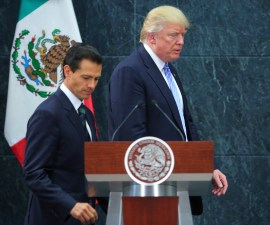 MEXICO CITY, MEXICO - AUGUST 31:  President of Mexico Enrique Pena Nieto walks along US Republican presidential candidate Donald Trump after a meeting at Los Pinos on August 31, 2016 in Mexico City, Mexico. President of Mexico Enrique Pena Nieto invited both presidential candidates, Hillary Clinton and Donald Trump to talk about the bilateral relation between Mexico and the United States, being Trump the first one to accept the invitation. (Photo by Hector Vivas/LatinContent/Getty Images)