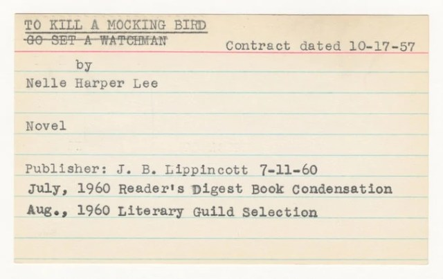 From Annie Laurie Williams [Lee's original literary agent]'s papers, Rare Book & Manuscript Library, Columbia University