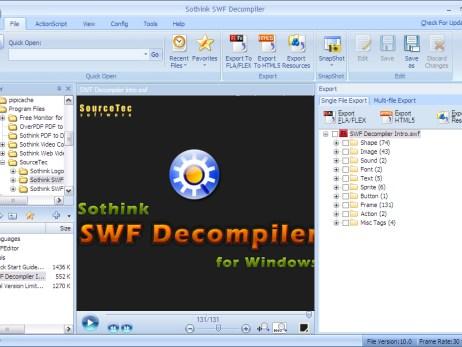 Screen shot of sothink swf decompiler