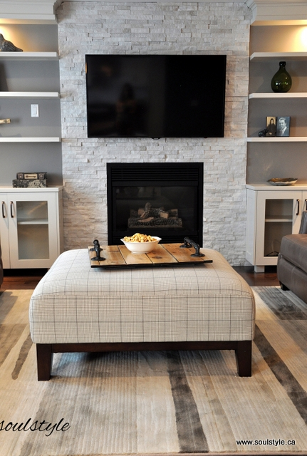 Quartzite stone fireplace
