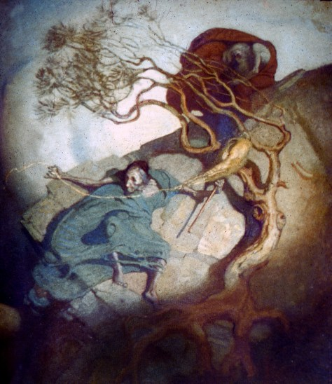 Louhi spins on a hillside, painted by the Finnish artist Gallen-Kallella