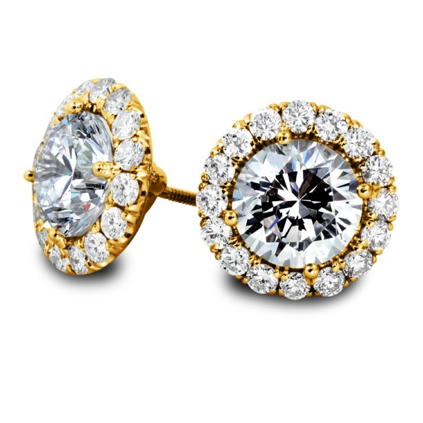 Diamond Halo Stud Earrings on Gold South Bay Gold