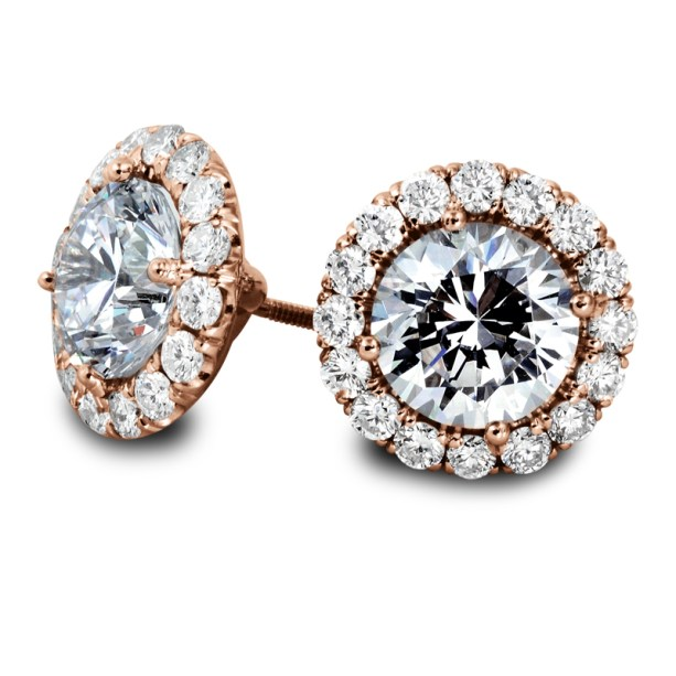 Diamond Halo Stud Earrings on Rose-Gold South Bay Gold