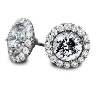 Diamond Halo Stud Earrings White-Gold South Bay Gold