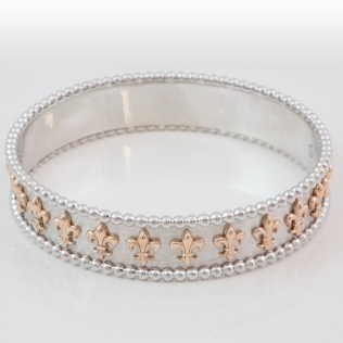 Fleur De Lis White Gold 2 Tone Bangle -South - Bay - Gold - Torrance