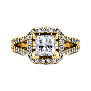South Bay Gold Engagement Ring Princess Cut Diamond
