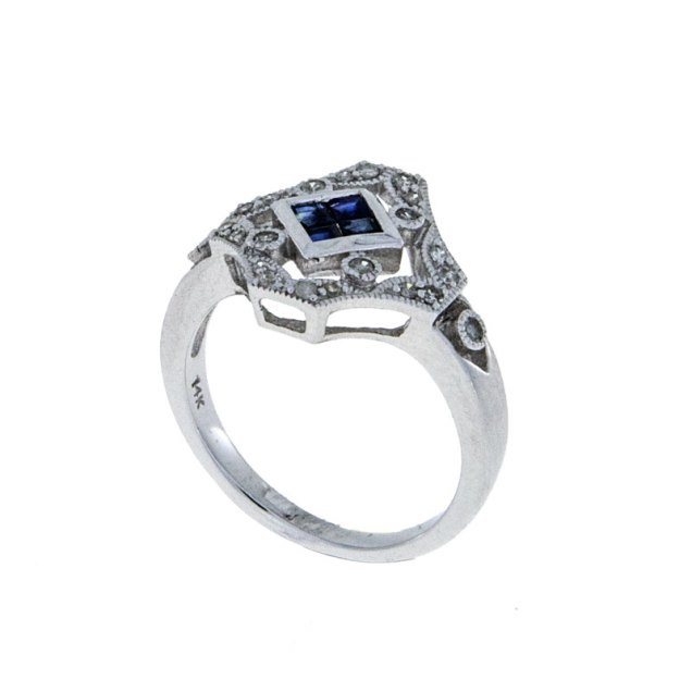 Diamond Sapphire Vintage Rngagement Ring Estate - South Bay Gold