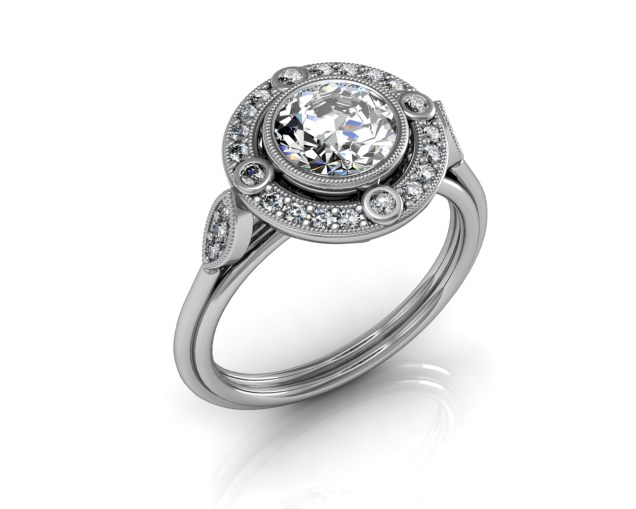 SOUTH-BAY-GOLD 3ct Round Cut Diamond Halo on White Gold - Engagement Ring