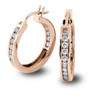 South Bay Gold Diamond Hoops on Rose Gold - SBG Jewelry Stores Torrance
