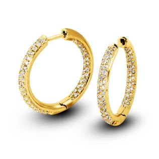 South Bay Gold 3-Row Pavé Diamonds Hoop Earrings-Torrance