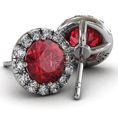 Classic U cut Halo Ruby Earrings