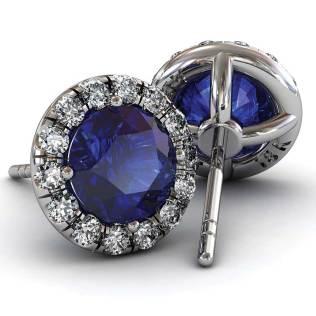 Classic U cut Halo Sapphire Earrings - South Bay Gold