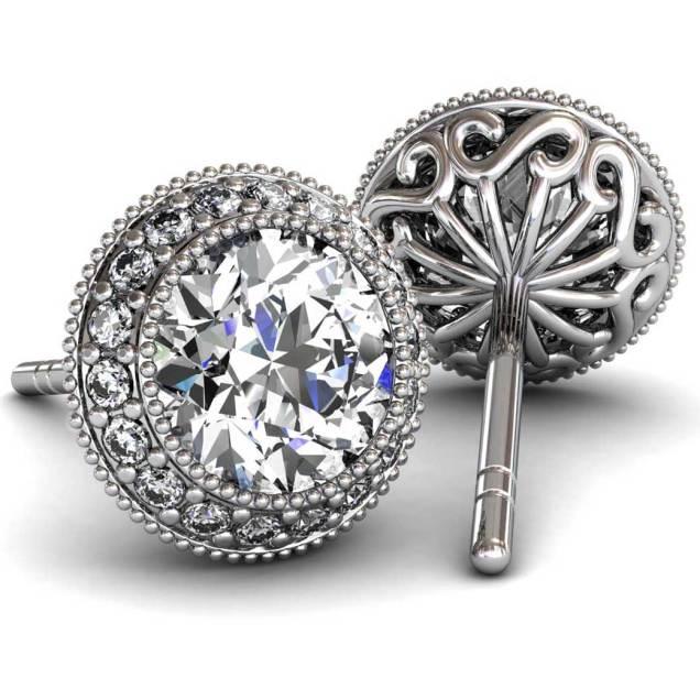 Regal Halo Diamond Earrings - South Bay Gold