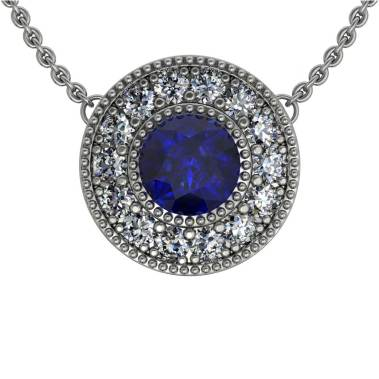 Beaded Halo Sapphire Pendant - South Bay Gold