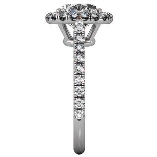 Diamond Classical U-cut Halo Ring - Side-View - South Bay Gold