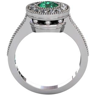 Emerald Beaded Halo Ring - Front-View - South Bay Gold