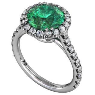 Emerald Classical U-cut Halo Ring South Bay Gold
