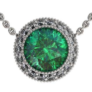 Regal Halo Emerald Pendant Shared-Prongs South Bay Gold