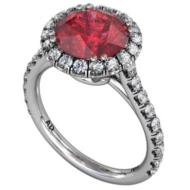 Ruby Classical Ucut Halo Ring - South Bay Gold