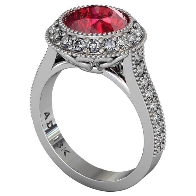 Ruby Regal Halo Shared-Prong Ring - South Bay Gold