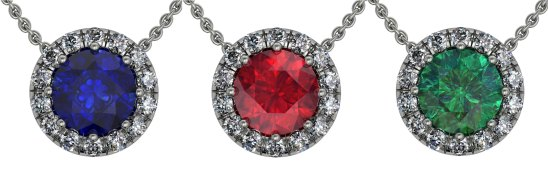 Classic Ucut Halo Sapphire, Ruby, Emerald Pendant - South Bay Gold