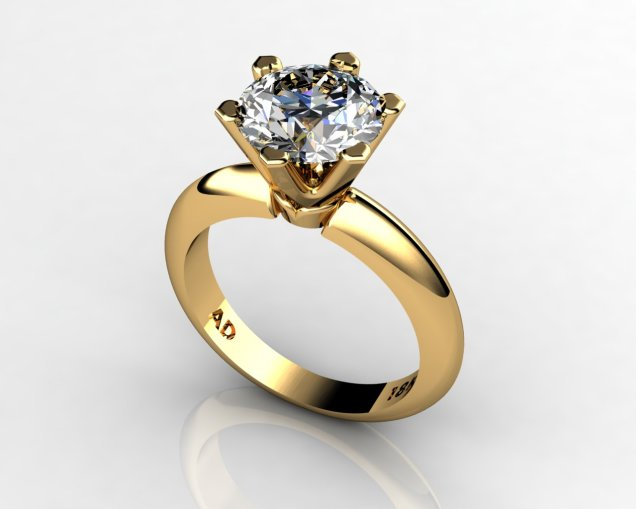 Diamond Solitaire Engagement Ring Round Cut 2.50ct Diamond 6 PRONGS 6gr 18kt Yellow Gold - South Bay Gold Torrance