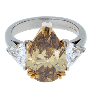 Pear Cut Champagne Diamond Ring Platinum South Bay Gold
