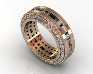 Wedding Bands Custom Design Channel Set 112 Stone 2.65 TCW Diamonds 14.30GR 18KT Rose Gold Torrance Jewelry Store